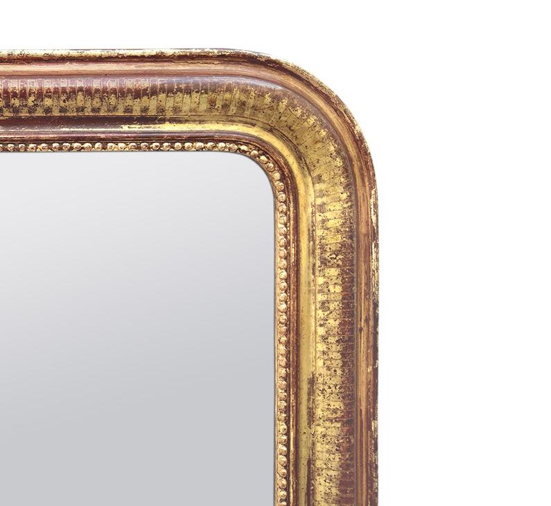 Ancien cadre miroir Louis Philippe décor gravé patiné
