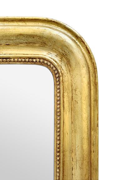 Cadre ancien miroir Louis Philippe doré patiné décor perles