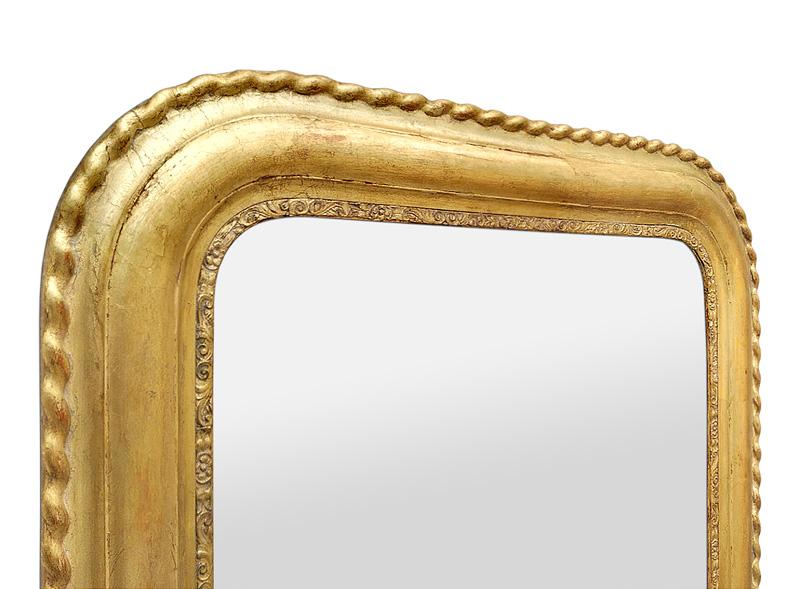 Cadre miroir ancien bois doré style Louis Philippe décor torsades