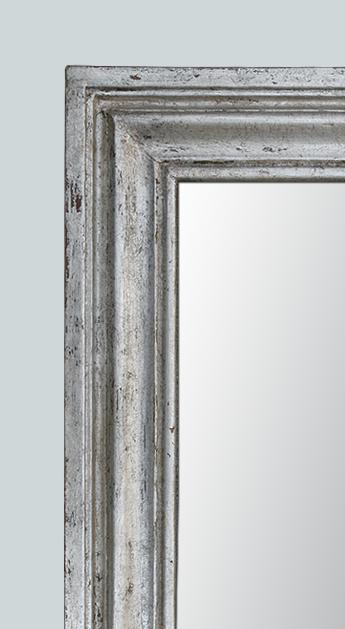 Petit miroir bois argent patin moulure ancienne for Grand miroir cadre noir