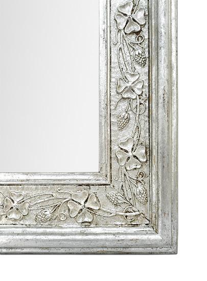 cadre miroir argenté patiné décor Art Nouveau 1900