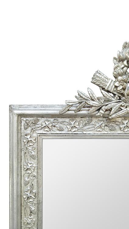 Cadre miroir argenté patiné décor style Art Nouveau