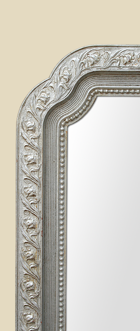 grand miroir argent patine art nouveau de forme chantournee. Black Bedroom Furniture Sets. Home Design Ideas