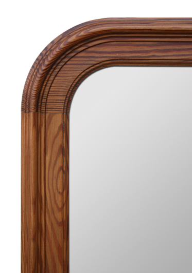 Grand miroir ancien en bois naturel pitchpin for Glace miroir moderne