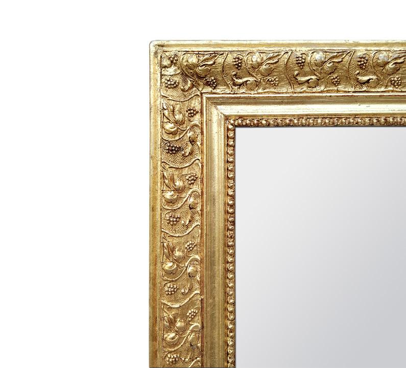 Cadre miroir bois doré ancien décor feuilles de vigne