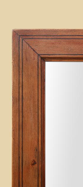 Miroir bois pitchpin ancien filets noir poque 19 me for Miroir bois noir