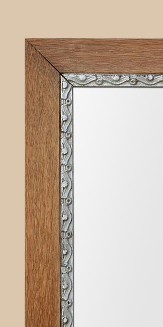 Miroir bois ann es 50 ch ne clair d cor argent for Miroir largeur 50