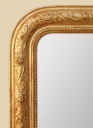 Grand miroir cheminée doré style Louis-Philippe