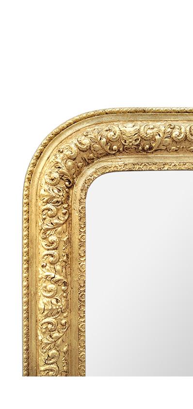 Cadre miroir doré Louis Philippe décor feuillages 1900