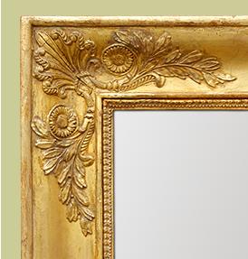 Grand miroir cheminée ancien époque Empire bois doré