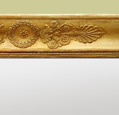 Grand miroir chemin e ancien poque empire bois dor for Coeur couronne et miroir