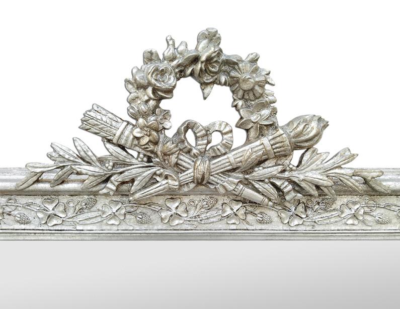 Cadre miroir fronton argenté décor caquois, flèches, flambeau, couronne de fleurs