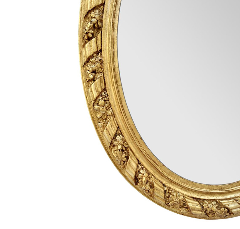 cadre miroir ovale bois dore ancien-1880