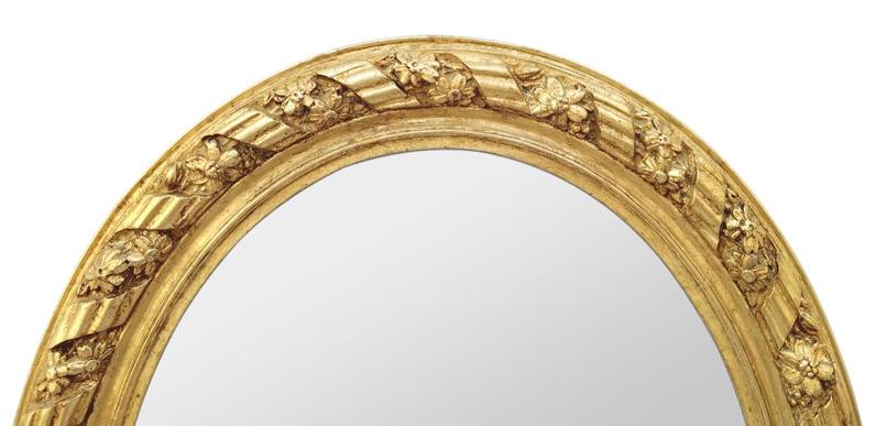 cadre miroir ovale dore ancien decor rubans et fleurs 1880