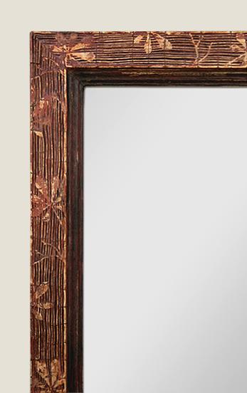 Grand miroir ancien ocre rouge patin - Couleur ocre rouge ...