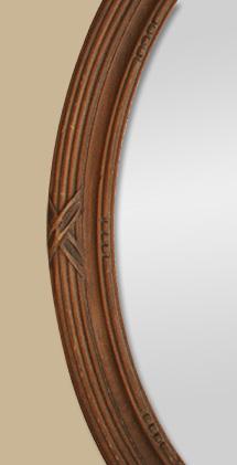 Glace miroir ovale redorure patin argent - Encadrement bois pour miroir ...
