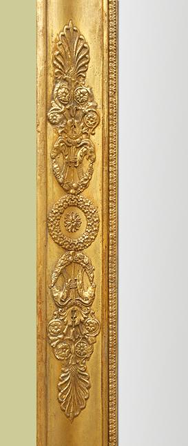 Grand miroir chemin e ancien poque empire bois dor - Encadrement bois pour miroir ...