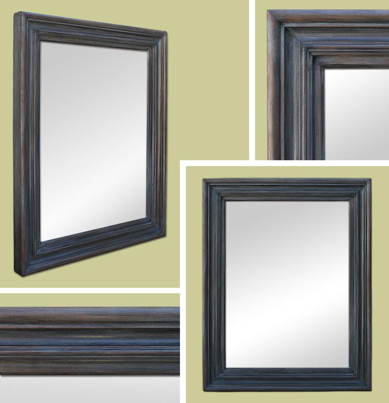 Glace miroir ancien patine gris ardoise for Glace miroir