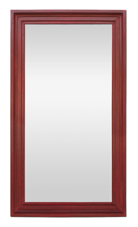 Grand miroir ancien bois peint rouge patin ann es 50 for Miroir 50 x 50 cm
