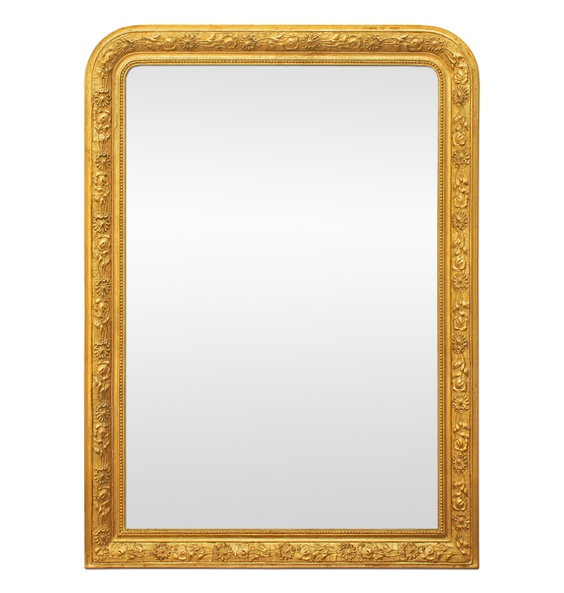 Grand miroir chemin e ancien dor style louis philippe for Grand miroir ancien