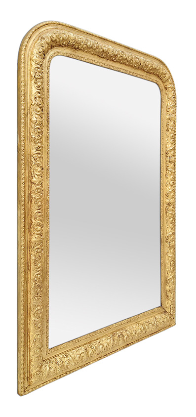 Grand miroir ancien doré Louis-Philippe