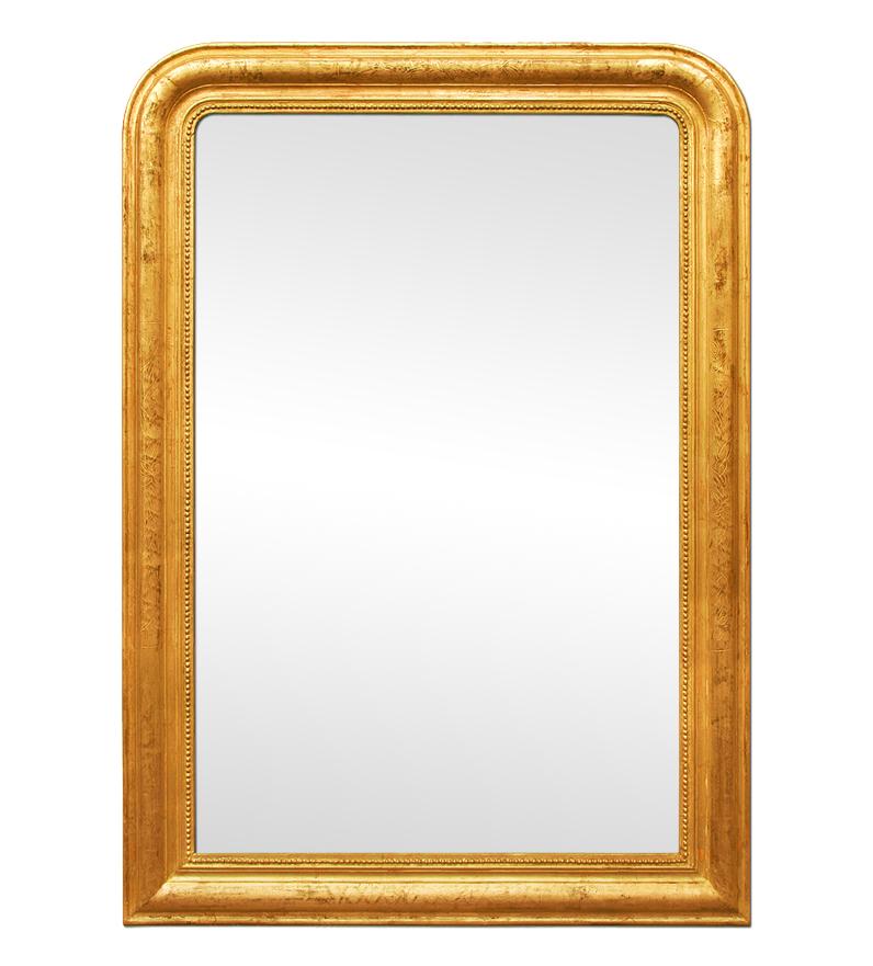 Grand miroir ancien dor patin de style louis philippe for Miroir dore ancien