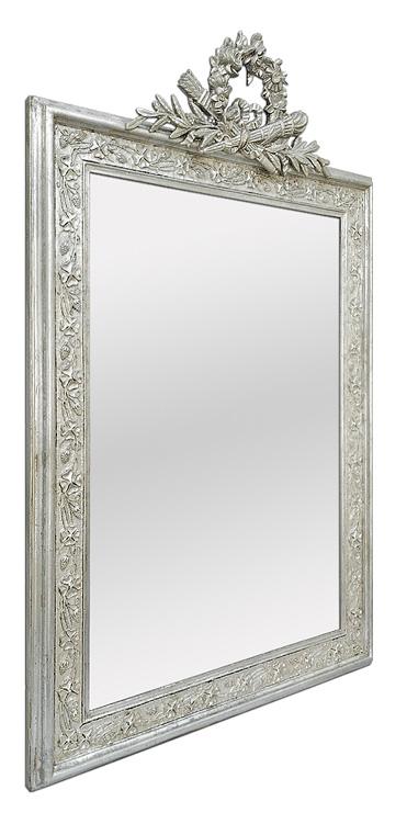 Grand miroir argenté à fronton cheminée style Art Nouveau
