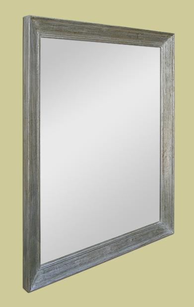 Grand miroir ancien bois moulur argent patin for Miroir largeur 50 cm