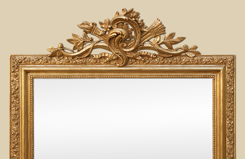 grand miroir cheminee dore art nouveau fronton rocaille style louis xv. Black Bedroom Furniture Sets. Home Design Ideas