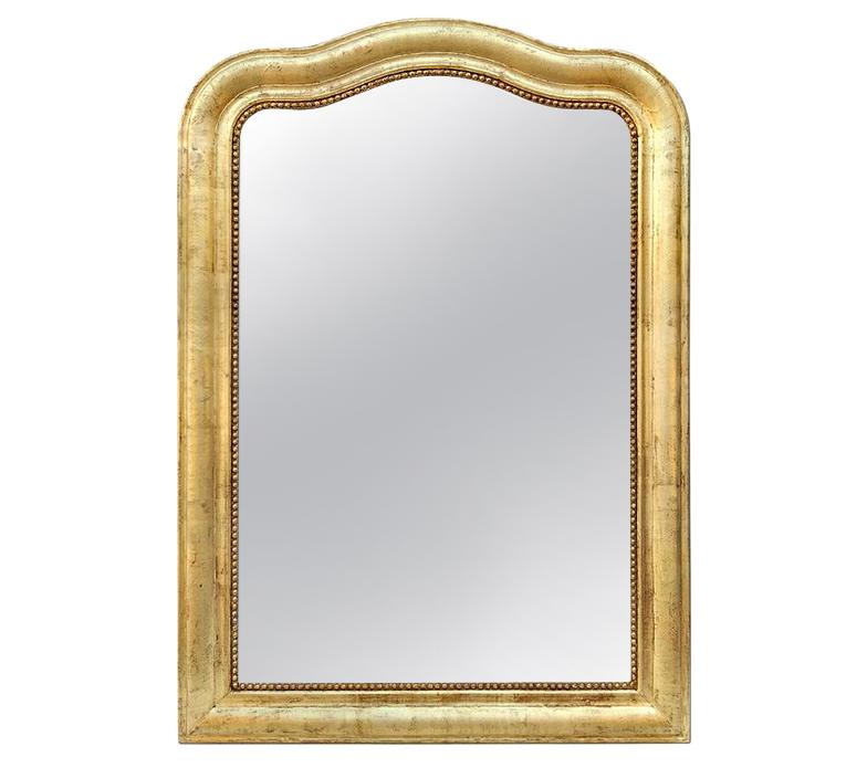 Grand miroir cheminée doré chapeau de gendarme Louis-philippe ancien