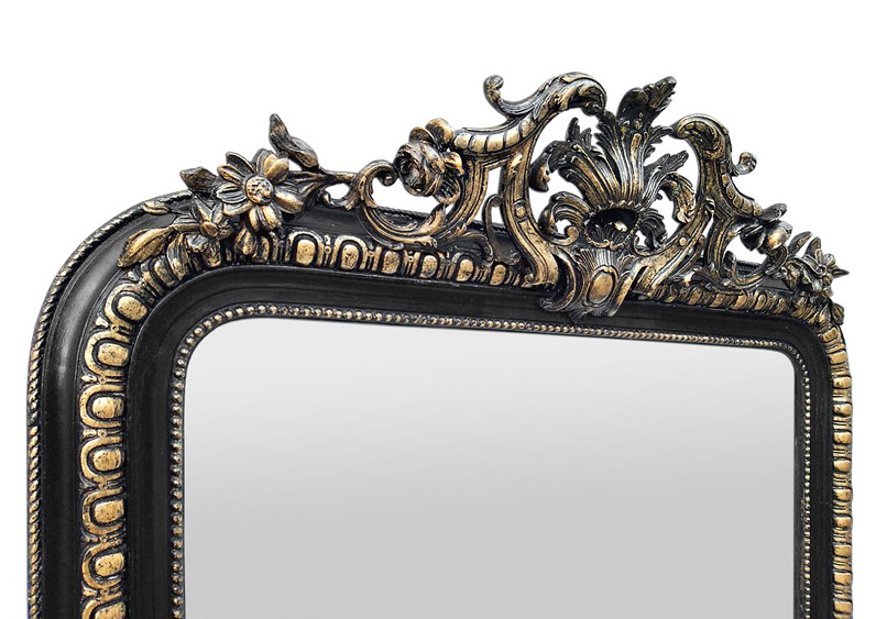 grand miroir cheminee noir dore decor fronton