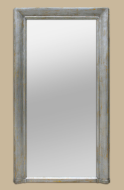 Grand miroir chemin e moulur patine argent for Grand miroir