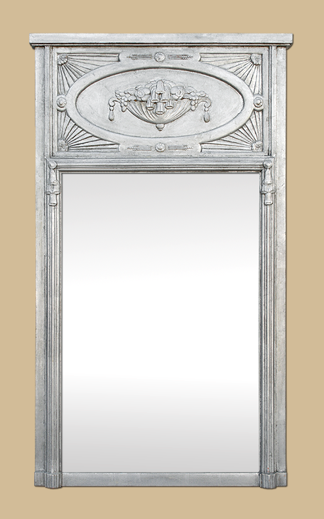 grand miroir chemin e trumeau art nouveau dorure argent ancien. Black Bedroom Furniture Sets. Home Design Ideas