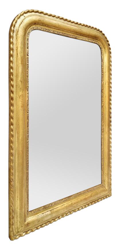 Grand miroir doré ancien Louis Philippe décor fleurettes et torsades