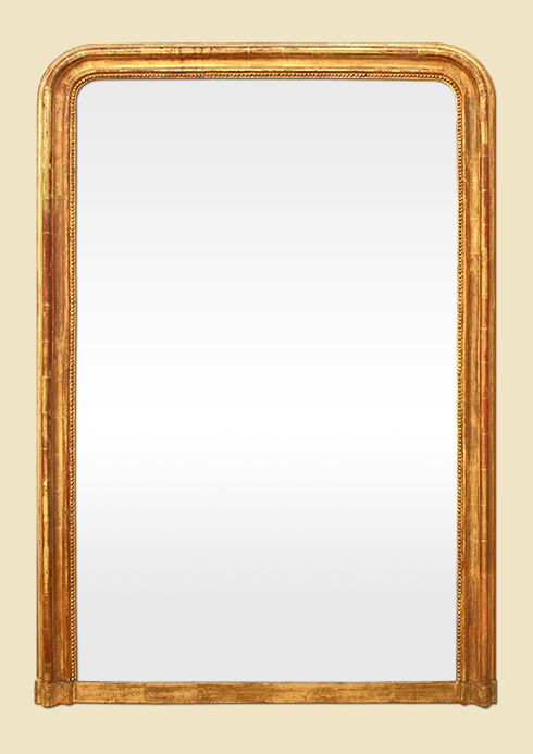 Grand miroir dor cheminee poque louis philippe for Grand miroir ancien
