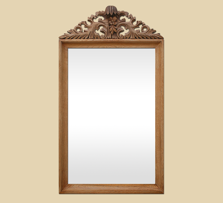 Grand miroir ancien fronton sculpt en bois naturel for Grand miroir bois