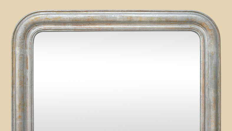 Grand miroir chemin e louis philippe argente patine ancien for Miroir louis philippe