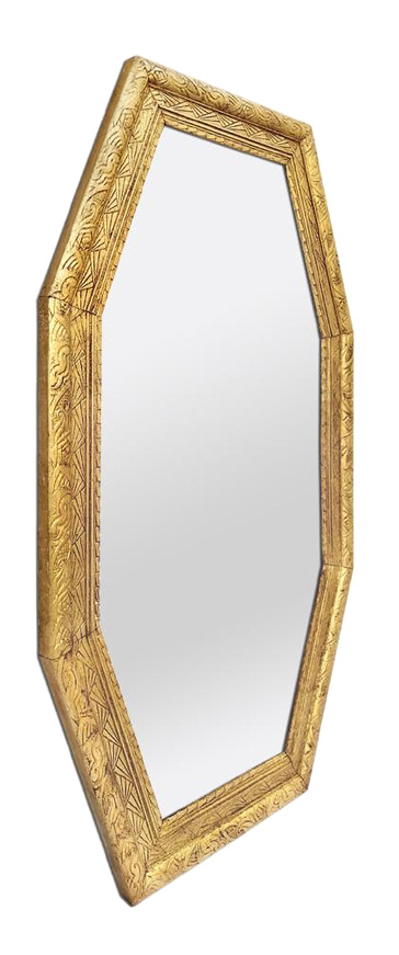 grand miroir octogonal dore ancien style art deco