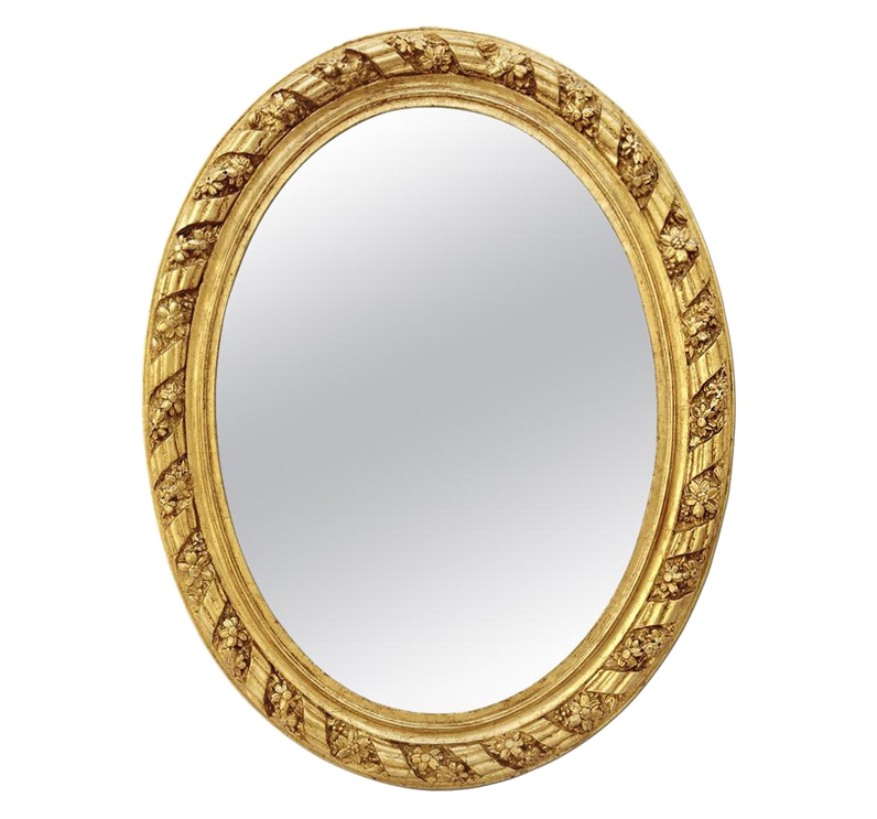 Grand miroir ovale ancien doré circa 1880