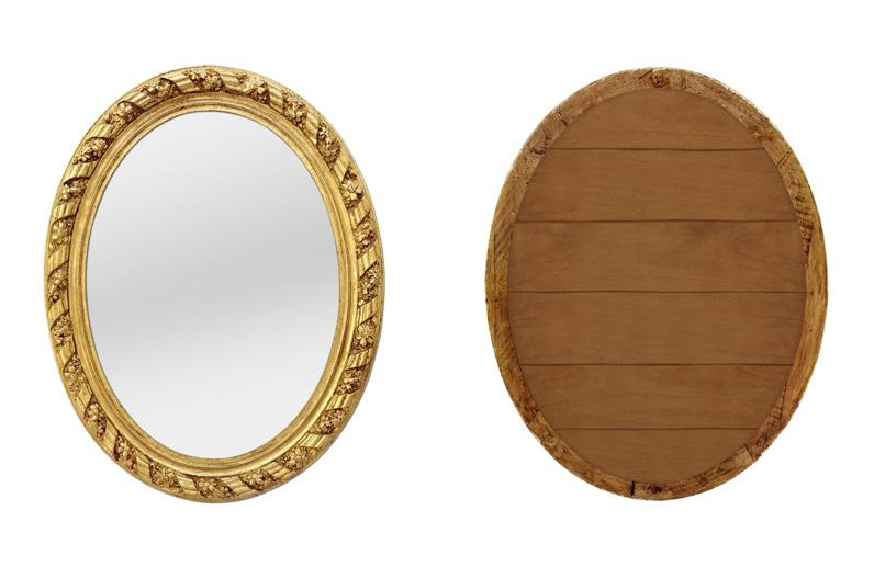 grand miroir ovale bois dore ancien epoque 1880