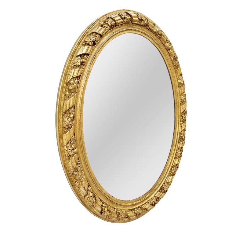 grand miroir ovale doré ancien 1880