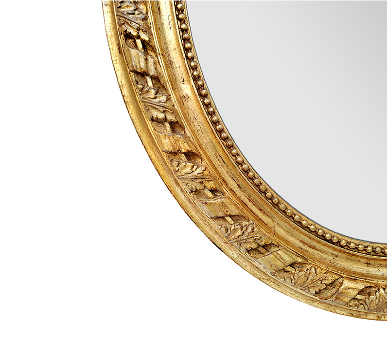 grand miroir ovale large cadre bois dore style napoleon III 1860