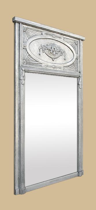 Grand miroir chemin e trumeau art nouveau dorure argent ancien for Miroir trumeau ancien