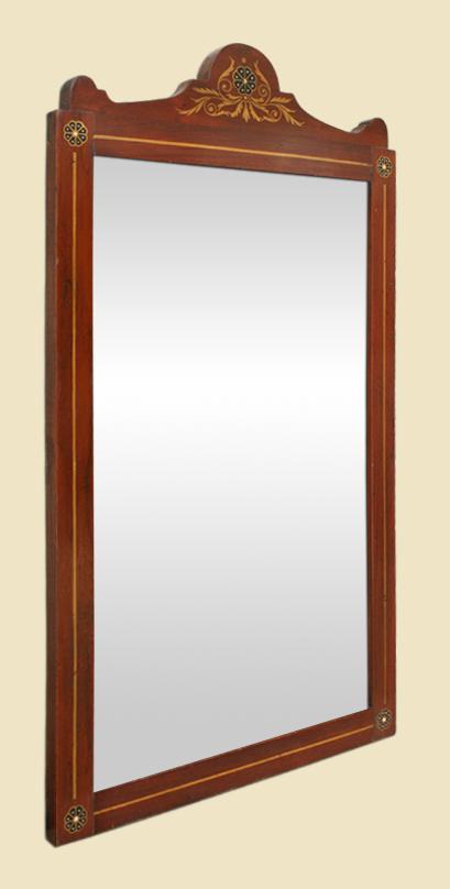Miroir ancien anglais 1900 en marqueterie d acajou blond for Miroir acajou