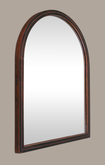 Petit miroir ancien arrondi placage bois acajou for Miroir arrondi
