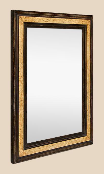 miroir ancien d 39 poque d cor imitation bois patin. Black Bedroom Furniture Sets. Home Design Ideas