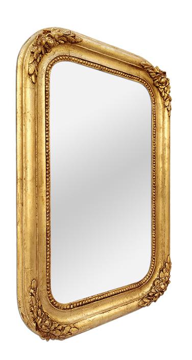 Miroir ancien bois doé bord arrondis style romantique, circa 1830