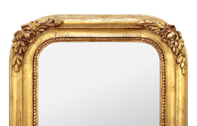miroir ancien bois doré, décor de roses, style romantique, circa 1830