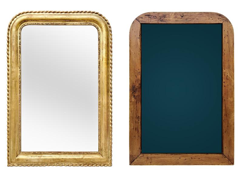 Miroir ancien bois doré Louis Philippe, vue avant et arrière