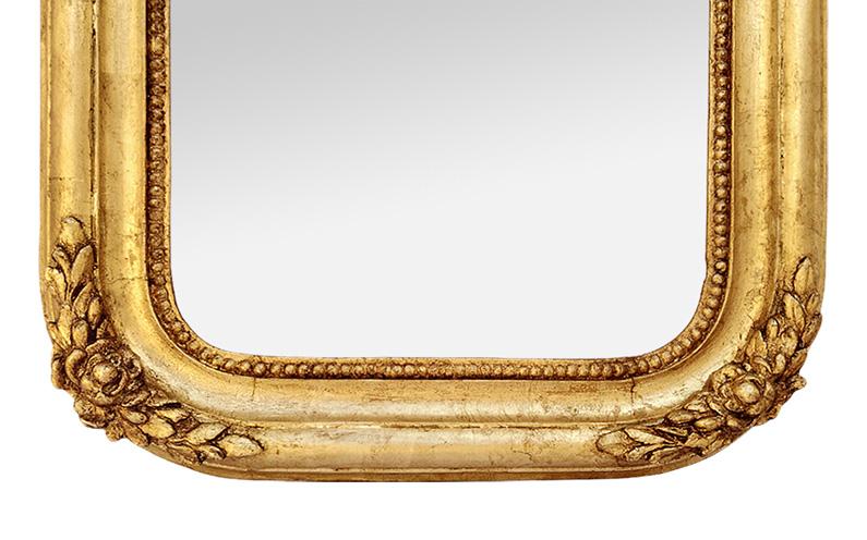 Miroir ancien bois doré romantique circa 1830